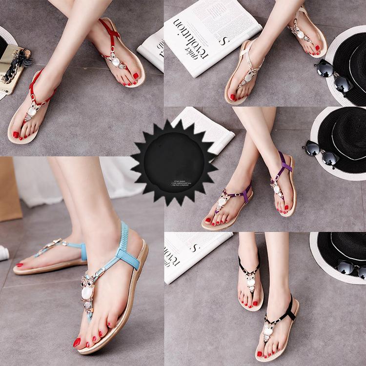 7e28a0d145169 Buy New summer flat bottomed flat Beaded sandals