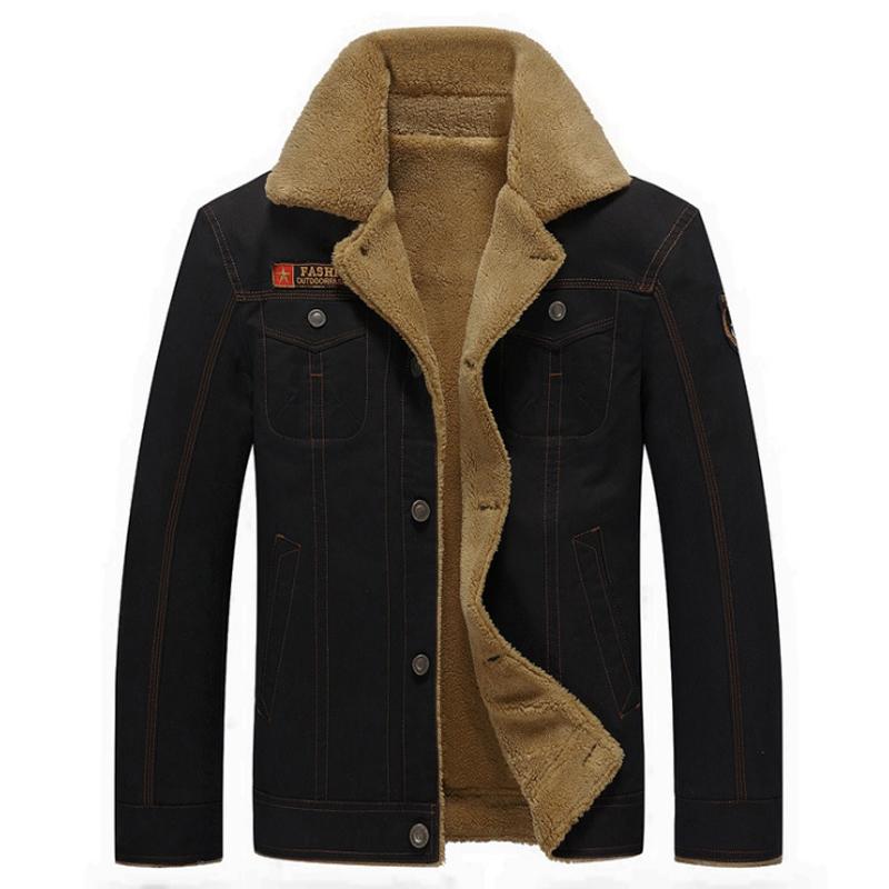 6c6728f8f8b Winter Jacket Men Thickening Warm Cotton Bomber Jacket Fur Collar ...