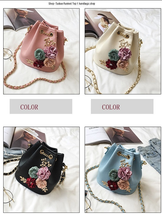 Buy Rdywbu Handmade Flowers Bucket Bags Mini Shoulder Bags With ... 4738414ebed4