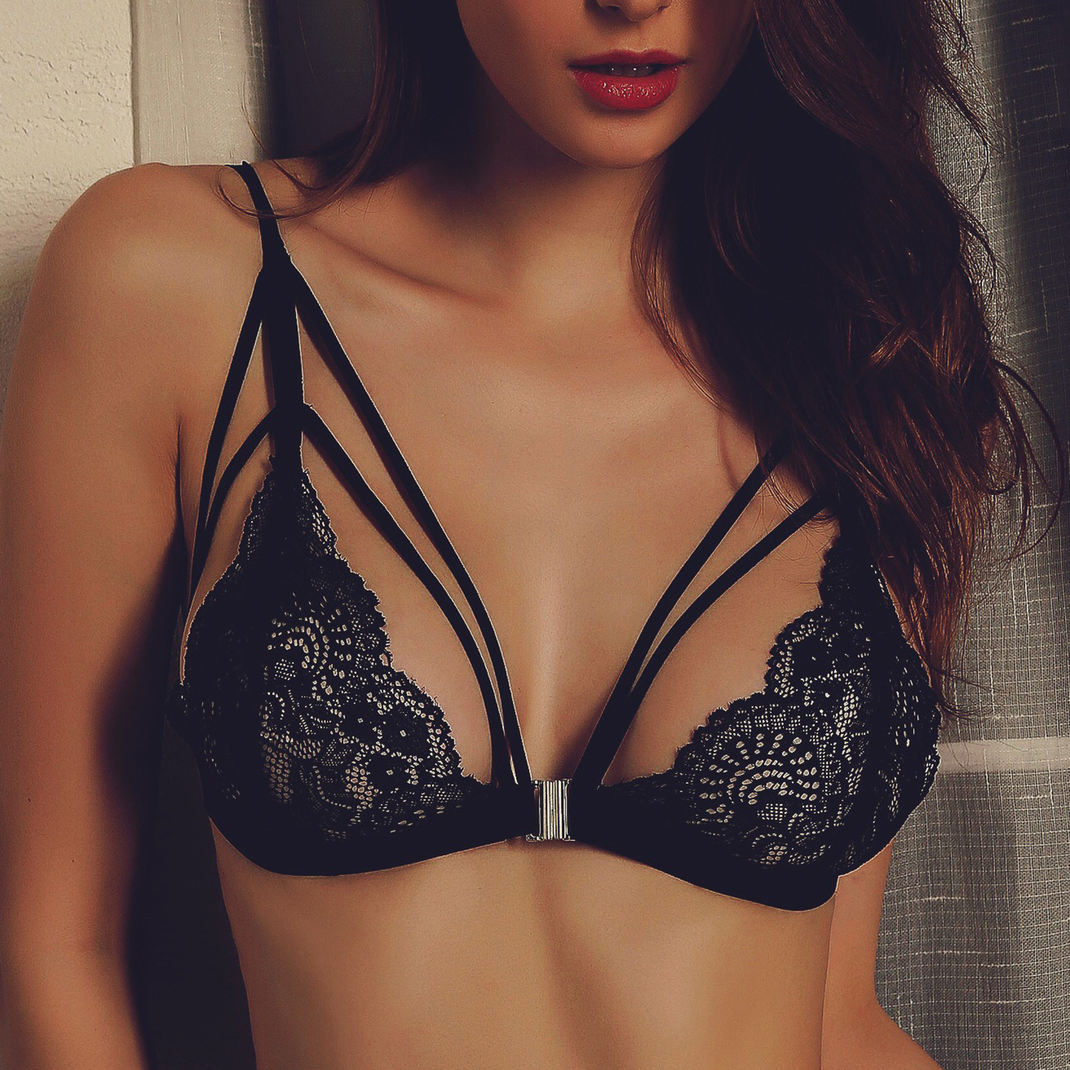 ae60b0a407d Women Hollow Out Translucent Underwear Bras Wrapped Chest Sheer Lace  Bralette Vest Strap Sexy Lingerie Cross Halter Push Up
