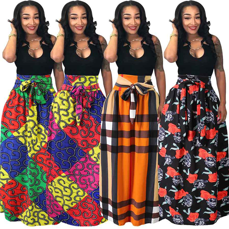 92bcff6648b6 New Style African 2018 Fashion Summer Women's Print Pleat Elastic Waist  Maxi Swing Skirt 4 Color Plus Size M-4XL