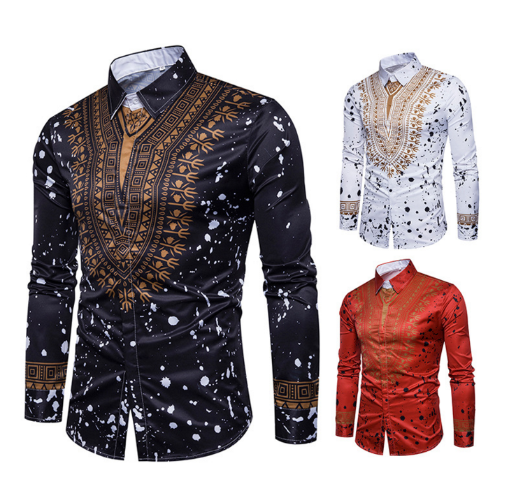 a6169ebc766 New Tops men s casual shirt 2018 spring 3D National style printing Floral  pattern men fashion Edition long sleeve Shirt EU size