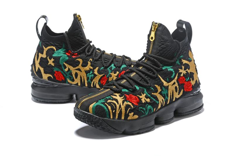 367a79027a3df Buy Nike LeBron James 15 New 2018 LBJ15 The black flower Men's ...