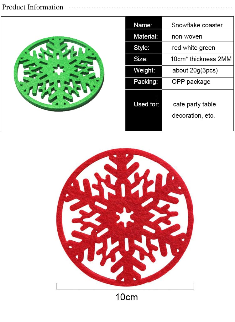 Buy Christmas Decoration Home Supplies Christmas Snowflake Coaster