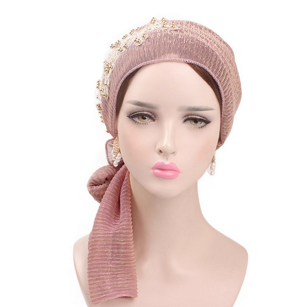 9deca546866 Buy Bigood Women Pleated Tail Floral Muslim Headscarf Headwrap ...