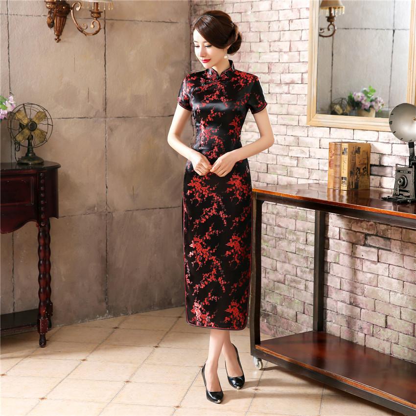 260866085b Buy Black Red Chinese Traditional Dress Women's Silk Satin Cheongsam ...
