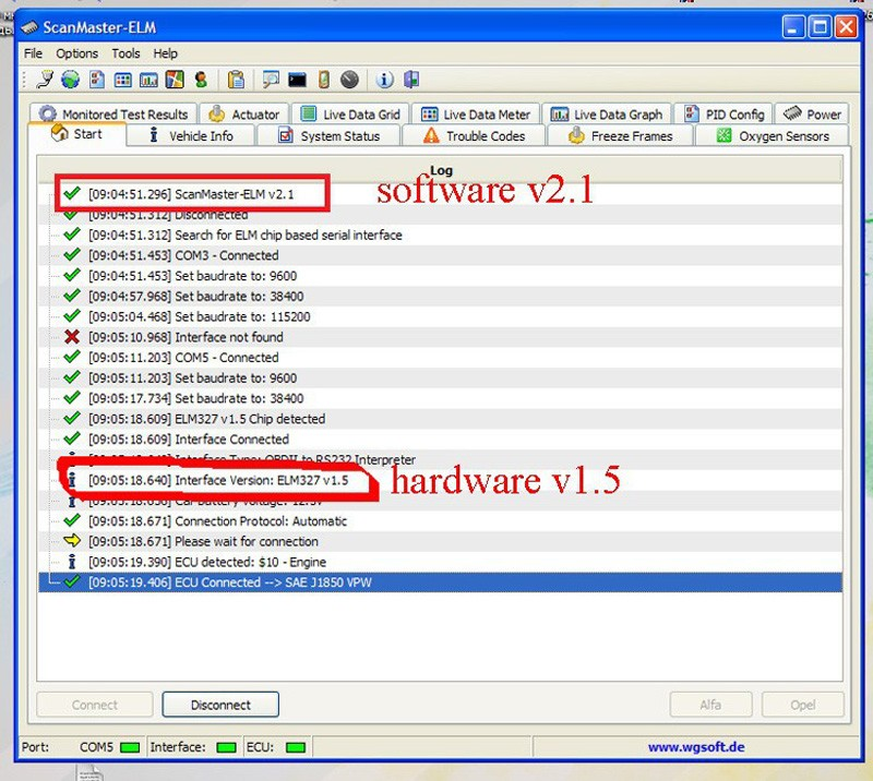 elm327 interface software