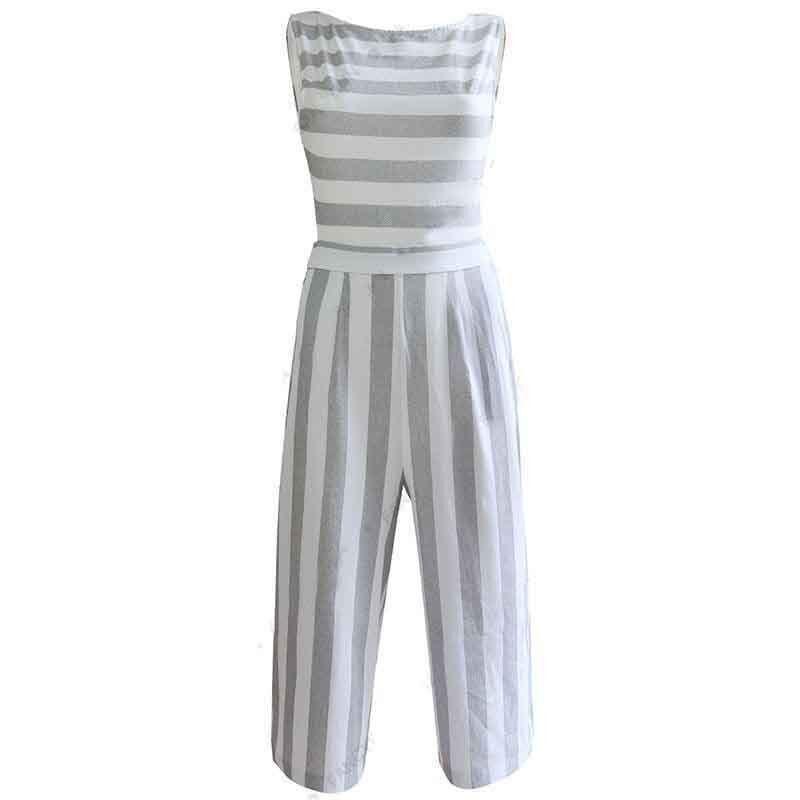 fe08c6e13e7 Buy 2019 Women s Sleeveless Striped Jumpsuit Casual Loose Trousers  Fashionable Leotard Catsuit Combinaison Wide Leg Pants