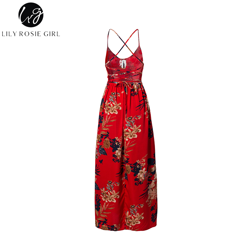 b9907d9caa3db Buy Women Lily Rosie Girl Red Floral Print Sexy Lace Up V Neck Maxi ...