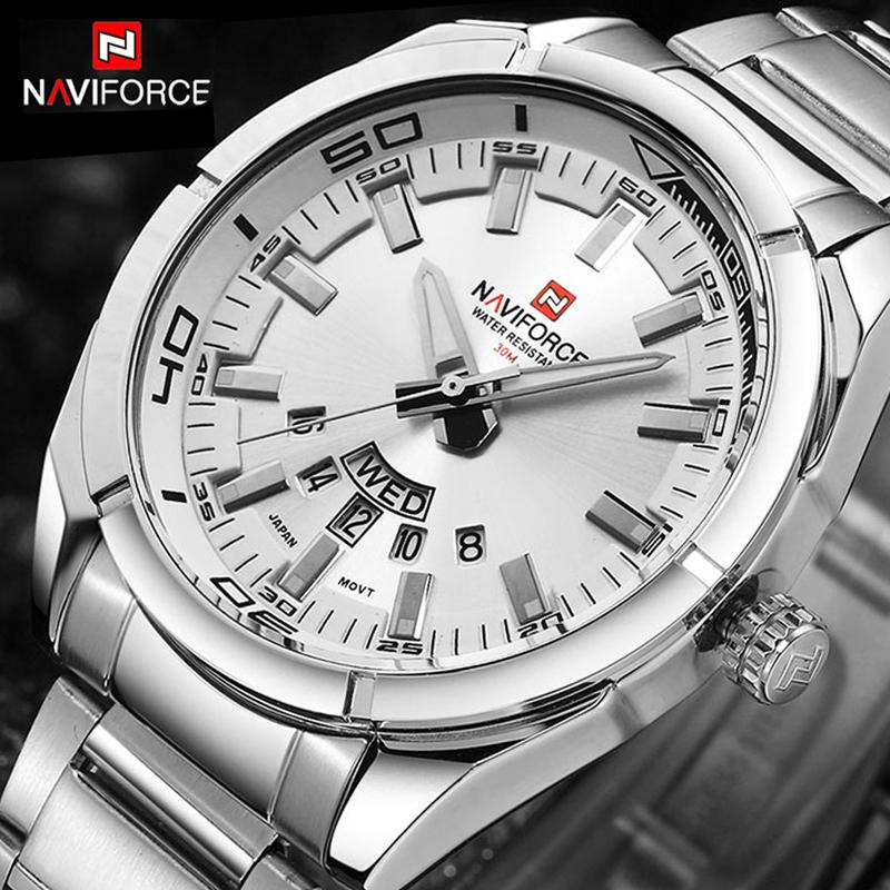 32d747c0f3c Buy NAVIFORCE Luxury brand Quartz Watches Men Full Steel Sports ...