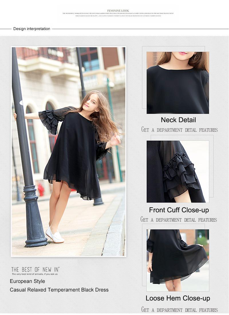 7b70201fbdc1b Buy Kids Girls Dress Summer Black Short-sleeve Flare Sleeve Chiffon ...