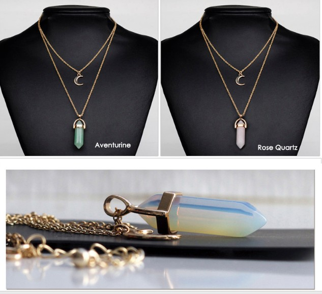 abfe0d7091a07 Buy Artilady natural opal stone moon choker necklace fashion gold ...