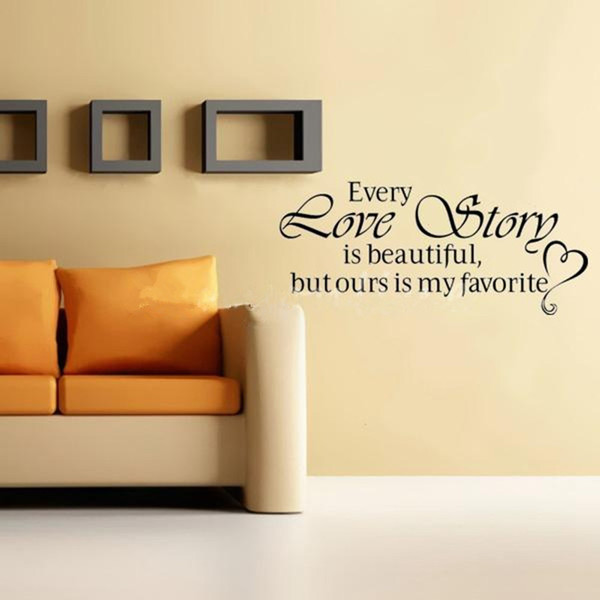 Buy New Wall Stickers Home Decor - English quote Every Love Story is ...