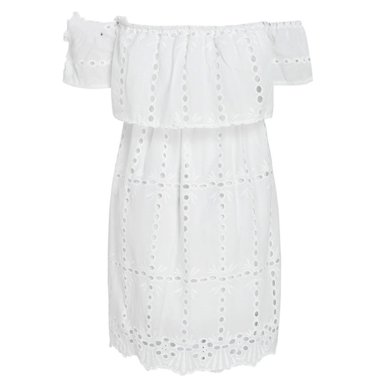 952e8315dab93 Buy Simplee Off shoulder white lace dress women Hollow out ...