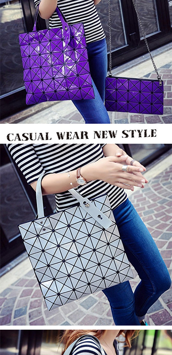 4a394eeff5 Buy 2 sets Ladies Folded Geometric Plaid Bag Casual Bags