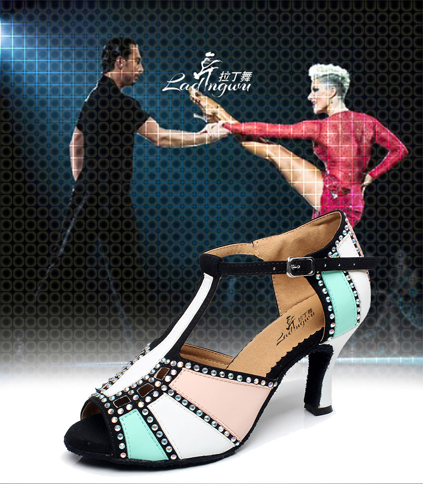 Buy Ladingwu Leatherette and Shine Rhinestones Ballroom Salsa Dance ... 252d35c3baae