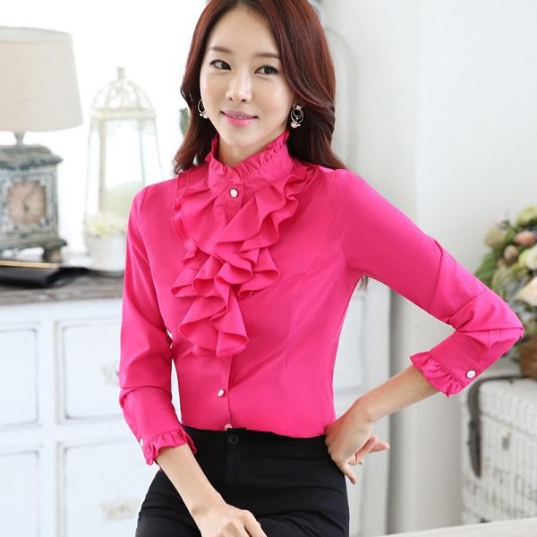 777a743b3069 e stand collar long sleeve shirt office Formal elegant women ruffles blouse  tops Full sleeve women Solid shirt female casual style elegant fashion slim  tops ...