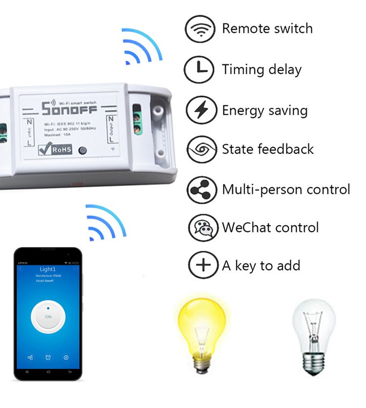 Buy 5pcs/lot Sonoff Smart Wifi Switch Wireless DIY