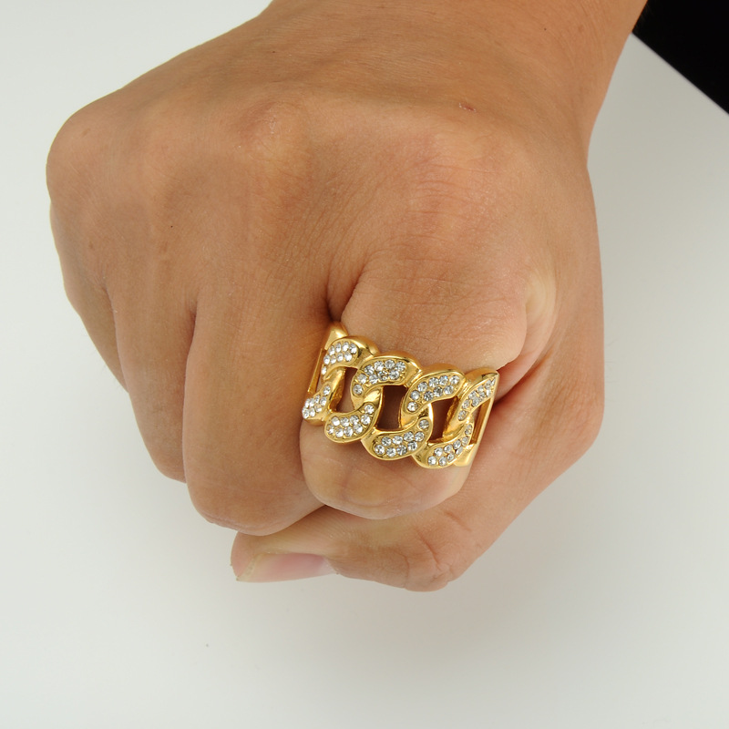 Buy New hip hop gold and diamond ring 18k - KiKUU - Uganda