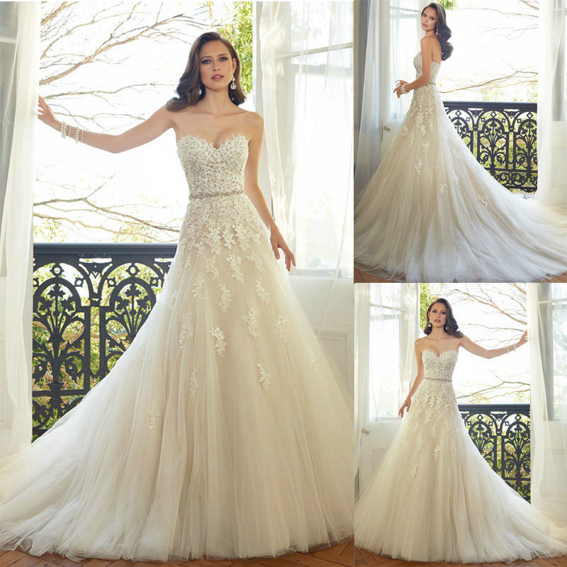 Buy Sweetheart Lace A Line Wedding Dress Bridal Gowns Cheap Dresses