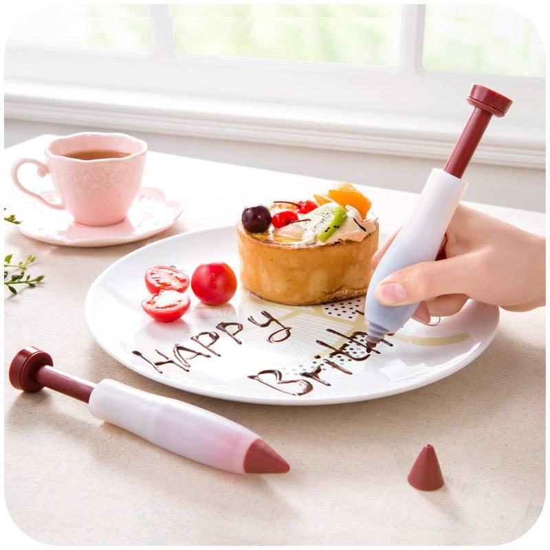 4PCS Fondant Cake Pen Pastry Icing Writing Syringe Baking Decor DIY Tools