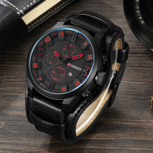 2016 CURREN Quartz Watch Men Watches Top Brand Luxury Black Wristwatch Man  Clock Men Leather Military Quartz-Watch Reloj Hombre 21c9469e2da