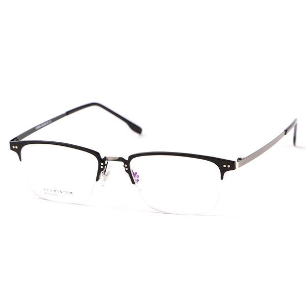 20311a097e7 Stallane Optical Glasses Frame Vintage Eyewear Retro Spectacle Aluminum  Half-Rim Ultralight Eyeglasses for Men and Women (Black)