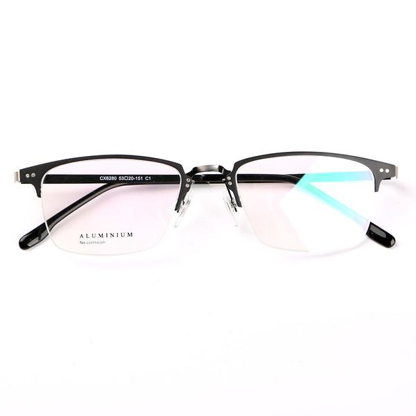 76df47178b Stallane Optical Glasses Frame Vintage Eyewear Retro Spectacle Aluminum Half -Rim Ultralight Eyeglasses for Men and Women (Black)