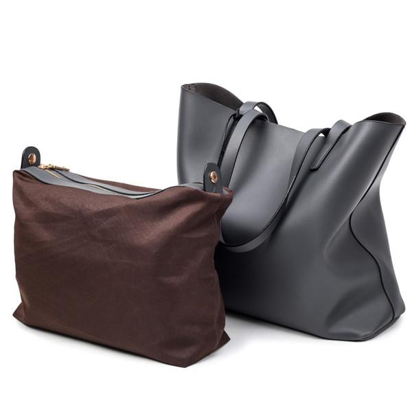 ffd63aa0d6776 BILLETERA Women Leather Handbags Black Bucket Shoulder Bags Ladies Bags  Large Capacity Casual Shopping Bag