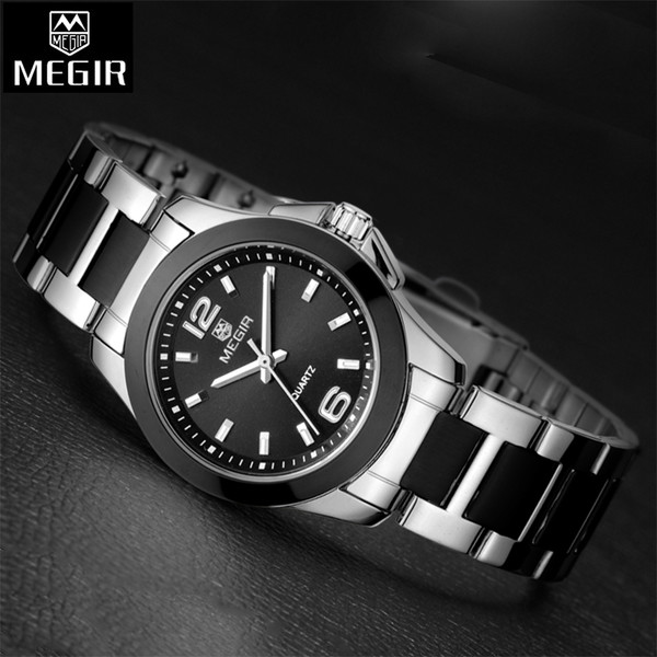 3d1a2211875 Megir Women Watches Luxury Brand Stainless Steel Gold Watch Women Quartz-Watch  Female Clock Women Relogio Feminino Montre Femme