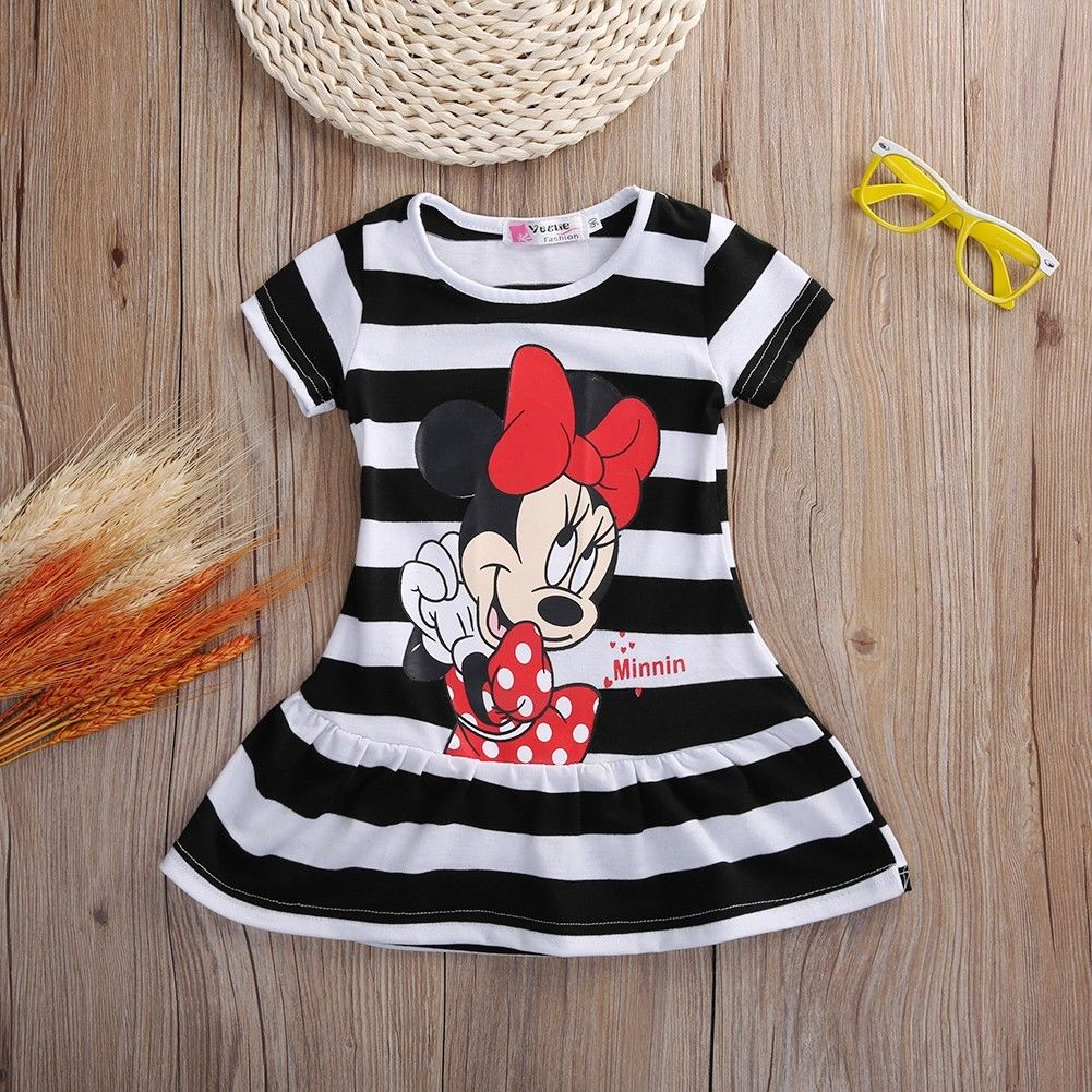 27b5d624da305 Condition: 100% Brand New Style: Pleated Striped Dress / Sundress / Skater  Dress Pattern: Cartoon Mickey Minnie Dress Length: Short Season: Summer