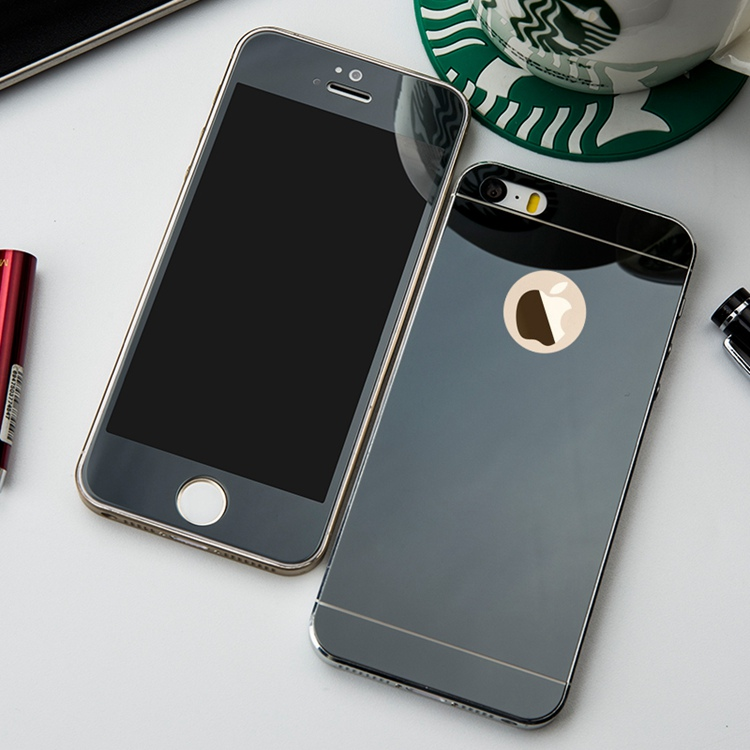 b836b1986cb Front+Rear Back 2PCS Full Screen Mirror Plating Tempered Glass Protector  Film for iphone 4 4s SE 5 5s 6 6s 7 Plus