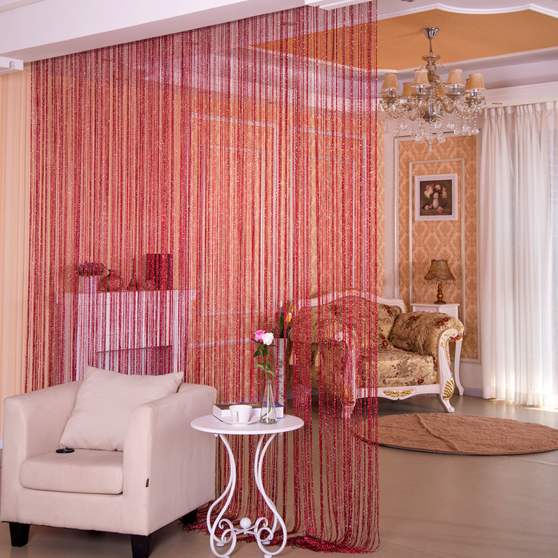 Buy Flat silver wire curtain cut curtains entrance living room ...
