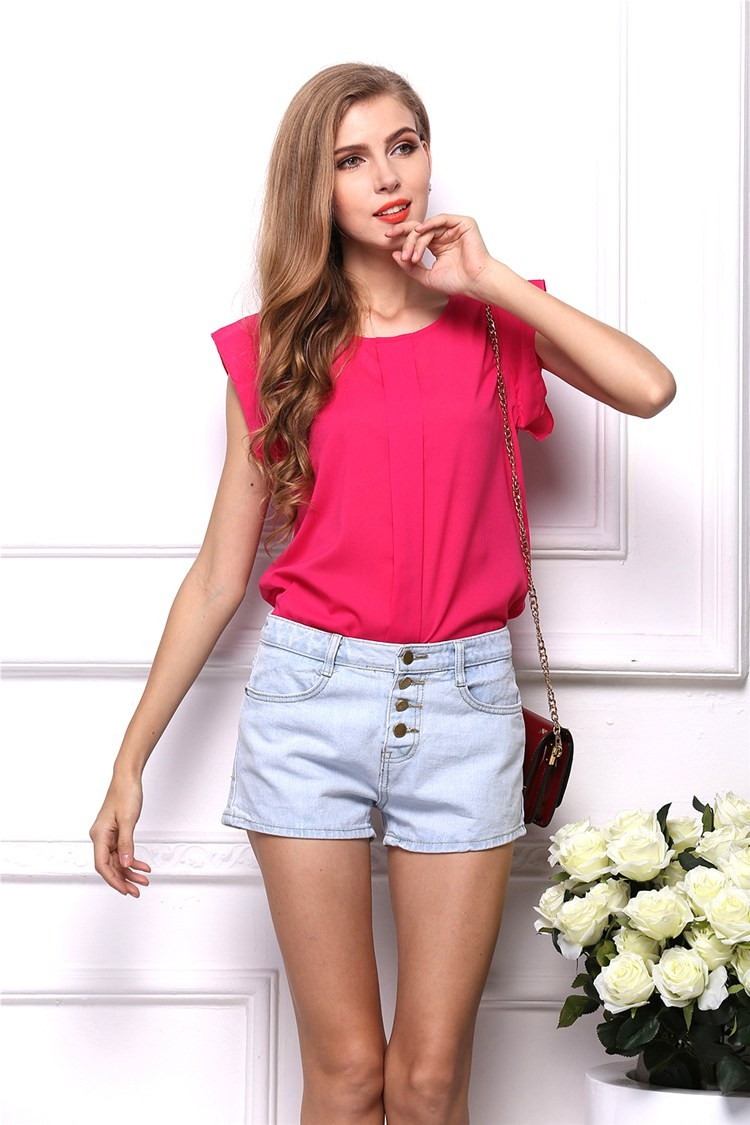 3c06e230fb7a Buy DIMSHOW Office Lady Chiffon Shirts Blouses Short Butterfly ...