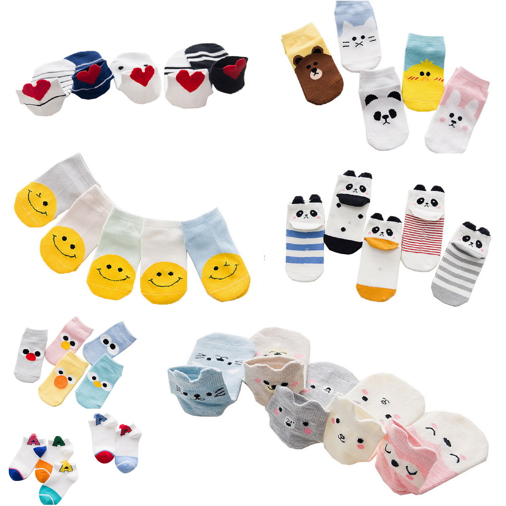 COMVIP Toddler Cartoon Cute Casual Cotton Novelty Ankle Socks 5 Pairs