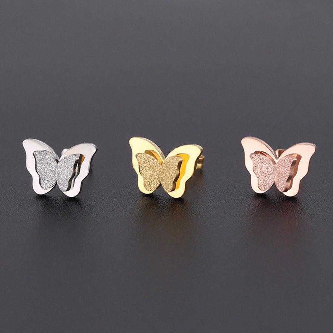 1 Pair Elegant Woman Girls Stainless Steel Butterfly Charming Ear Stud Earrings