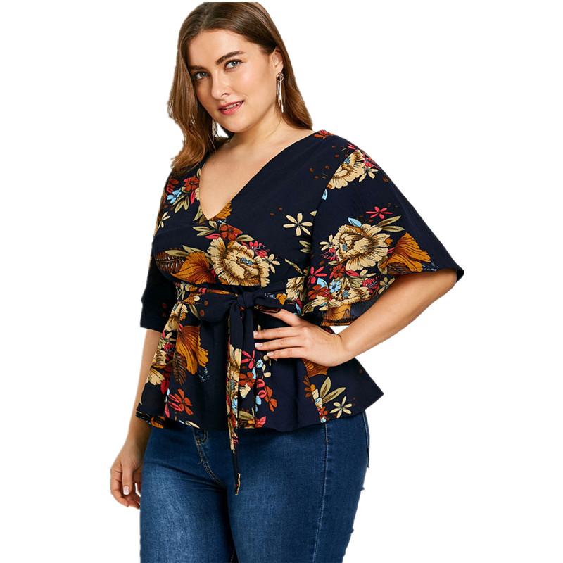 7f81640c5e0 Buy Fat Women V-neck Short Sleeve Print High Waist Bohemia Leisure ...