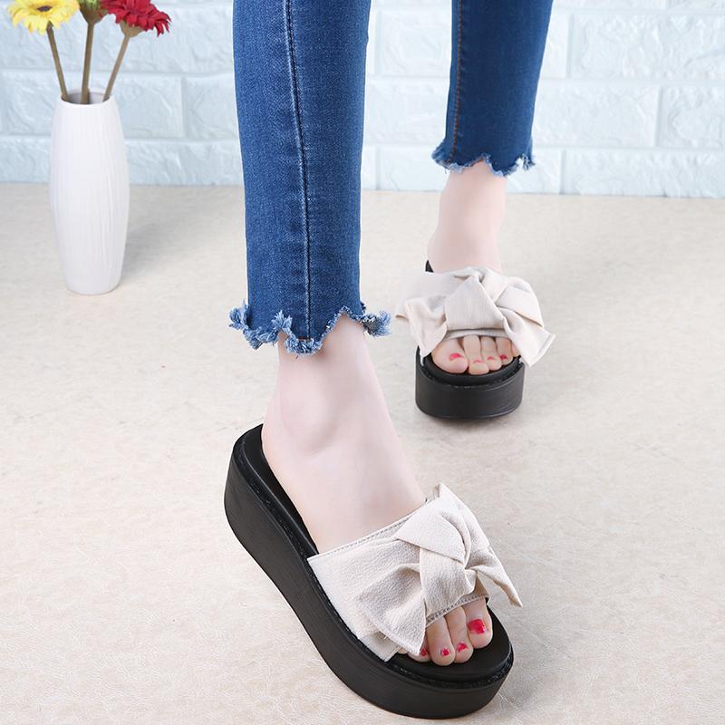 65fadf9b1 Buy Big Bowtie Woman Beach Flip Flops Summer Sandals Slip- Resistant ...