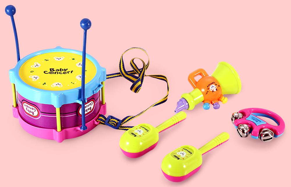 2x Baby Kids Rattles Sand Hammer Music Sound Toys Intelligence Color Random
