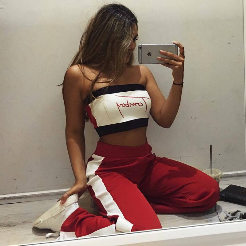 1e649da54c5 2018 summer cotton women tube tops letters printed Sexy female Strapless  sleeveless color matching girl crop tank tops