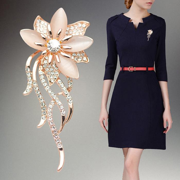 7e0d9be4a Buy OneckOha Fashionable Opal Stone Flower Brooch Pin Women Garment ...