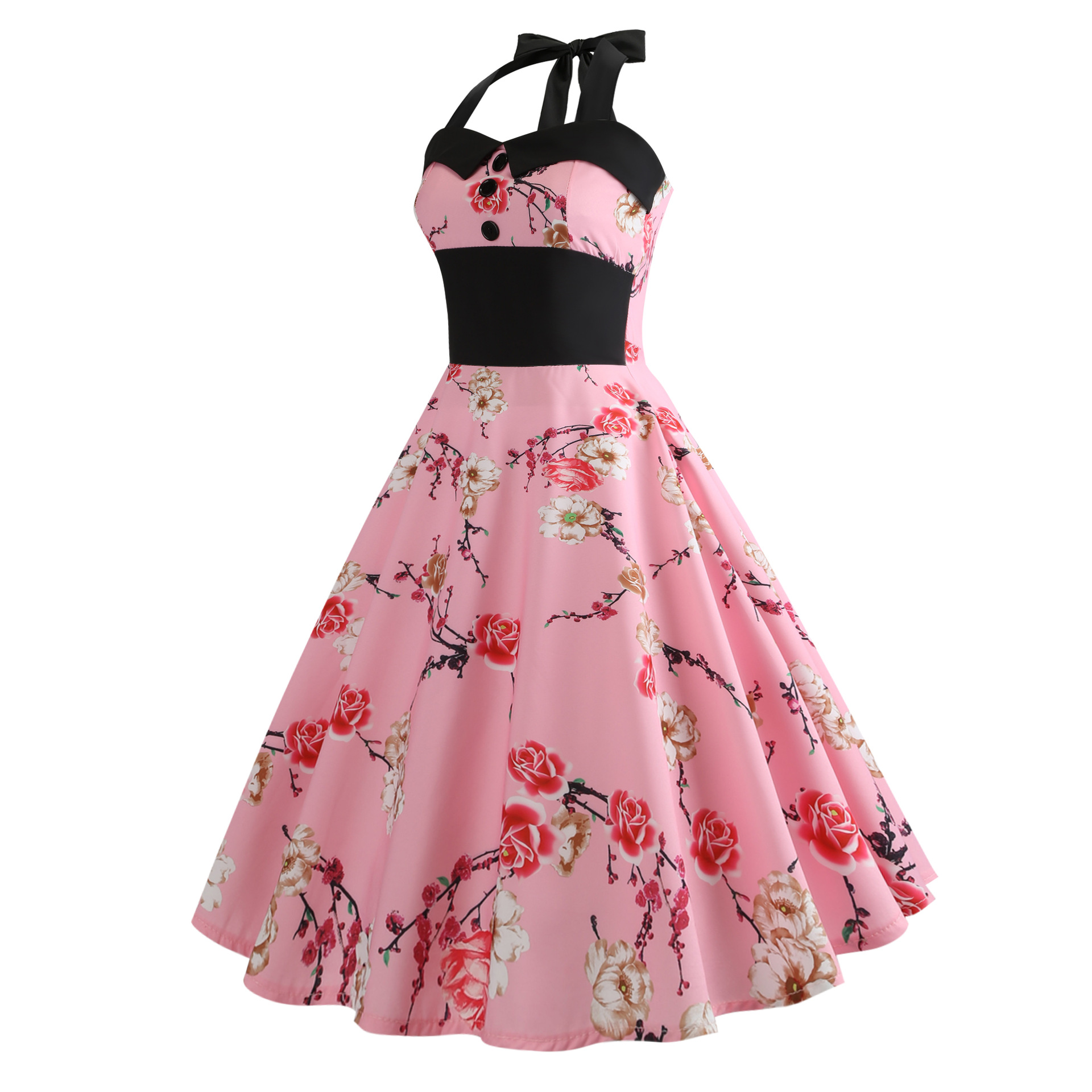 Buy Summer pink Floral Dress Retro Plus Size Women Elegant Vintage ...