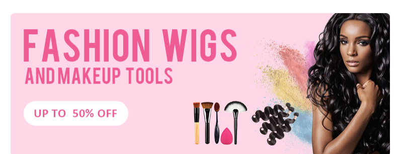 Fashion wigs and makeup tools