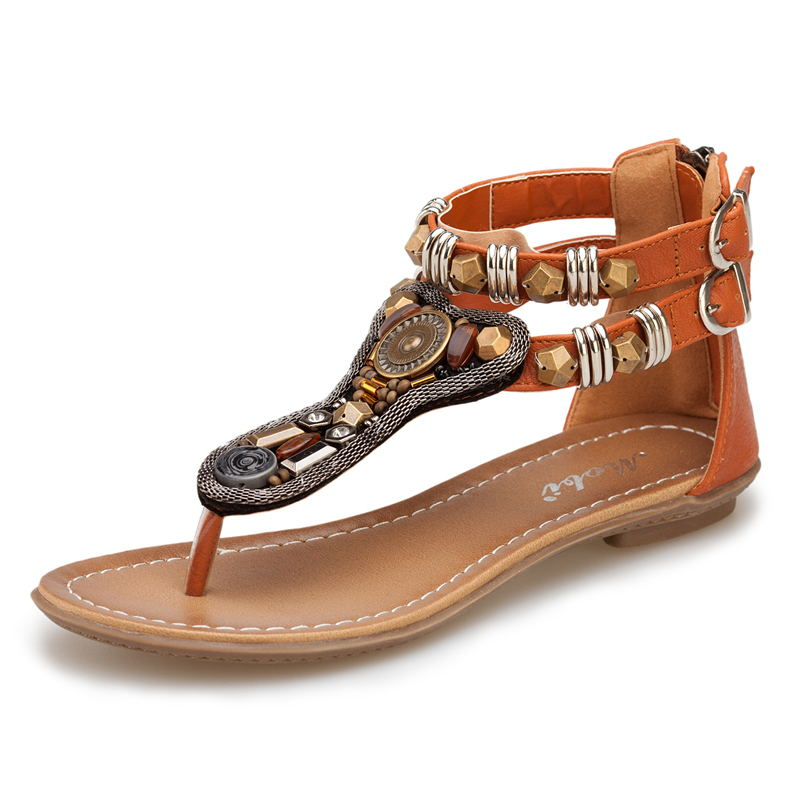 6b5731329 Buy 2018 Summer Roman Style Sandals With Zippered Lower Heel Beaded ...