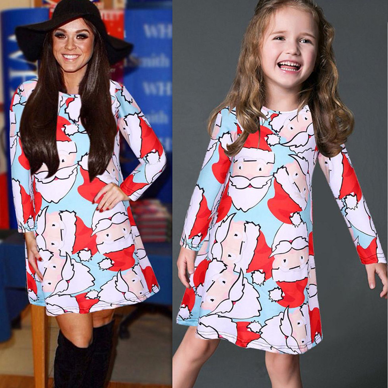 7ad1dd16ba9d5 Christmas Dress Mother Daughter Dresses Family Matching Clothes Mom Look Long  Sleeve Pink Santa Claus Print Dresses