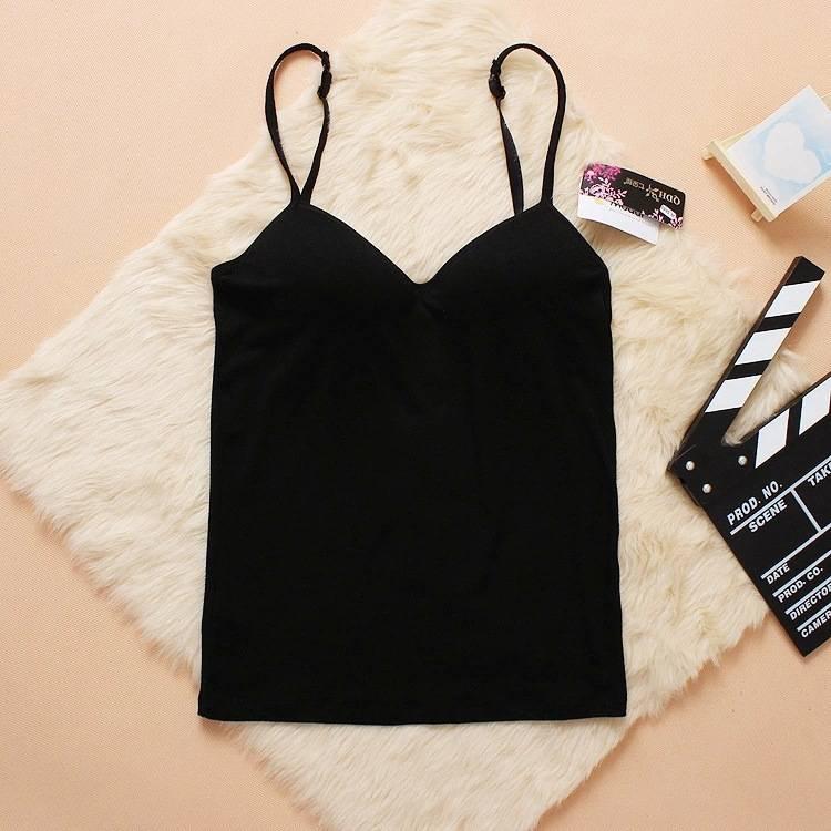 3b37bc0b0f0de Buy Women Padded Bra Tops V Neck Camisole Straps Push Up Bra Vest ...