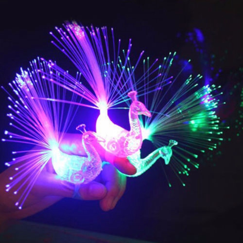 5X Peacock Light Up Finger Ring Laser LED Glow In Dark Stick Party Kids Toys New