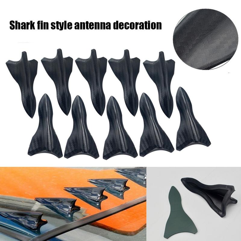 10 PCS Air Vortex Generator Roof Shark Fins Diffuser Carbon Fiber EVO Style