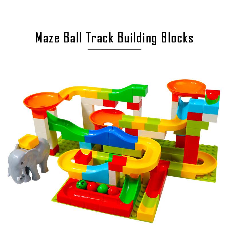 Blocks 72pcs Jurassic World Dinosaur Marble Race Run Maze Balls Track Building Blocks Legoingly Duploed Minecrafted Figures Bricks Toys Model Building