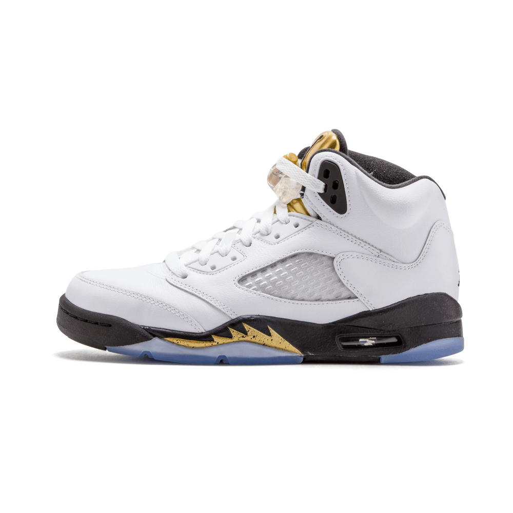 """promo code 5a545 4b575 ... this Air Jordan 5 takes first place with the """"Gold Tongue"""" colorway.  The clean look features a white leather upper with a metallic gold tongue and  black ..."""